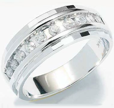 10k White Gold Classic Channel Set Round Cut Mens Diamond Wedding