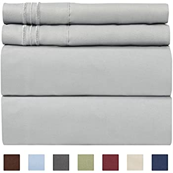 King Size Sheet Set - 4 Piece Set - Hotel Luxury Bed Sheets - Extra Soft - Deep Pockets - Easy Fit - Breathable & Cooling - Wrinkle Free - Comfy - Light Grey Bed Sheets - Kings Sheets - 4 PC