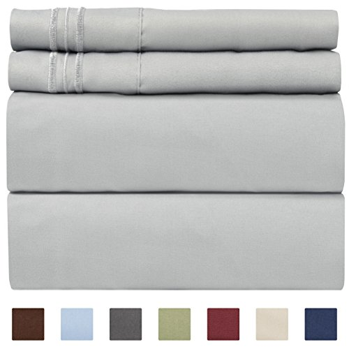 CGK Unlimited California King Size Sheet Set - 4 Piece Set - Hotel Luxury Bed Sheets - Extra Soft - Deep Pockets - Easy Fit - Breathable & Cooling - Comfy - Light Grey Bed Sheets - Cali Kings Sheets ()