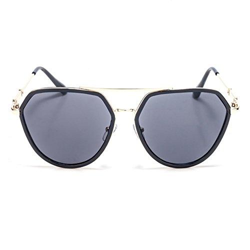 TIME100-la série de Smileyes Lunettes de soleil femme/homme rétro monture de lunette à un polygone et multicolore verre de lunette à la mode changement graduel 2017 TSGL057 Noir