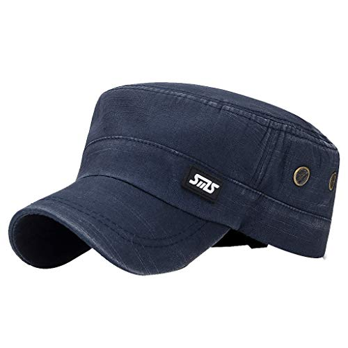 (Outdoor Golf Sun Hat  Leather Standard SMS Men's Washed Military Cap Flat Top Hat Baseball Cap)