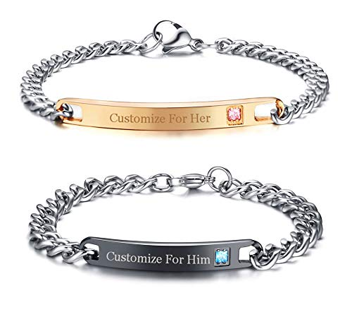 XUANPAI Free Custom Engraving Stainless Steel Matching Couples Link ID Bracelets Set for Him and Her by XUANPAI Bracelet