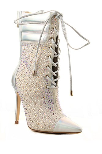 Cape Robbin Cruise Hologram Crystals High Heel Pointed Toe Lace Up Bootie