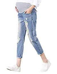 FEOYA Skinny Jeans for Pregnant Women Distressed Stretch Pants Leggings