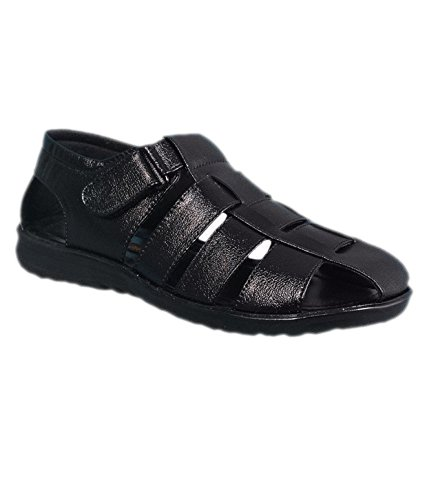 Majesty Men's Formal Black Color Leather Sandal or Chappal by Rajpal Traders  (7)