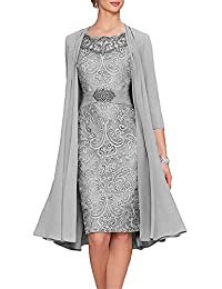 APXPF Women's Tea Length Mother of The Bride Dresses Two Pieces with Jacket
