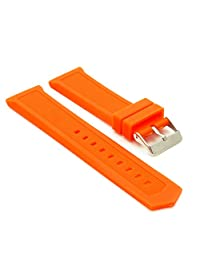 StrapsCo Waterproof Orange Silicone Watch Band Rubber Strap fits Tag Heuer size 22mm