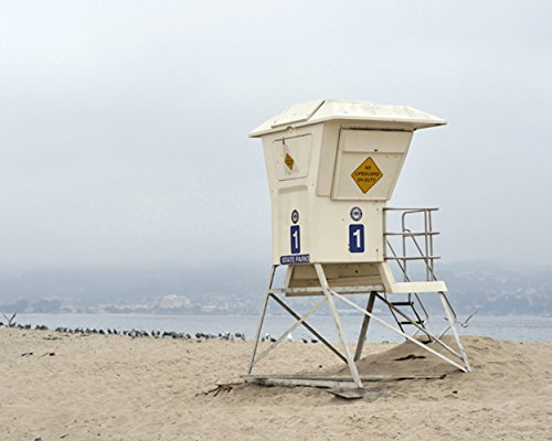 California Coast Wall Art  Monterey Bay Lifeguard Stand  Foggy Beach Photography Print  Nautical Beach Wall Decor  Lifeguard Tower Picture