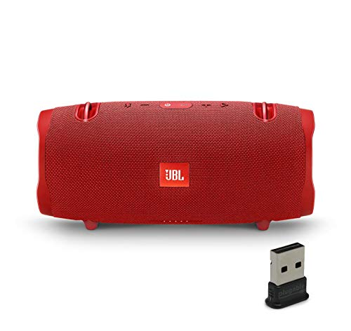 JBL Xtreme 2 Portable Bluetooth Waterproof Speaker Bundle with Plugable USB 2.0 Bluetooth Adapter - Red