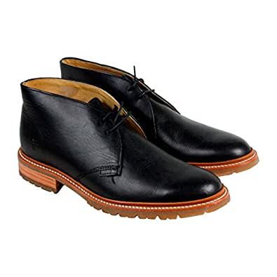 Amazon Com Frye Men S James Lug Chukka Black Smooth Full