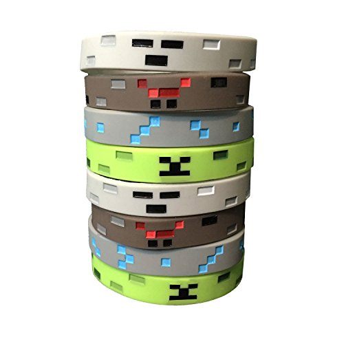 Pixel Style Miner Character Wristbands (8 Pack)- Pixel Style Video Game Designs - Spider, Creeper, Skeleton, Diamond - 2 of Each (Party Minecraft)