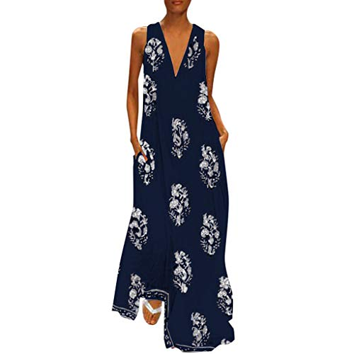 - Duseedik Women's Vintage Ankle Length Dress Summer Daily Plus Size Sleeveless Boho Floral Sundress Maxi Dress Dark Blue