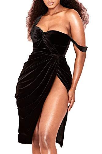 (UONBOX Women's Draped Off Shoulder Sleeves Black Velvet Corset Bodice Dress with High Slit Black L )