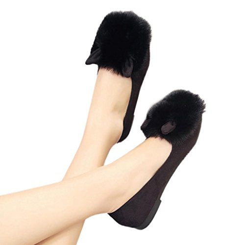 British Cultural Costumes (Lisin Women Ladies Slip On Sliders Fluffy Faux Fur Flat Slipper Flip Flop Single Shoes (Black, US:7))