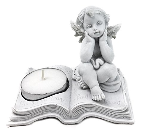 Reading Angel, Cherubs Angel Tea Light Candleholder Decorative Gift