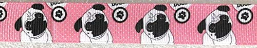 Dog Animal Prints by The Yard Ribbon Trim for Scrapbooking & Hair Bow Making (Dog Pug Pink 7/8