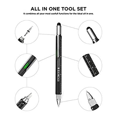 Screwdriver Pen Pocket Multi-Tool 6 in 1 – Multi-Functional & Sturdy Aluminum DIY Tool, with Screwdriver, Stylus, Bubble Level, Ruler & Phillips Flathead Bit, Unique Gift Idea 2 (1 Black): Electronics