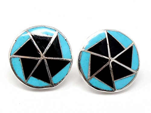 - Zuni Turquoise & Jet Inlay Stud Earring by Chavez 3/4