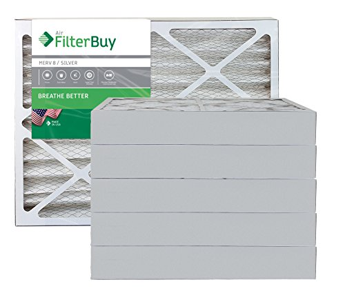 FilterBuy 15x30x4 MERV 8 Pleated AC Furnace Air Filter, (Pack of 6 Filters), 15x30x4 – Silver