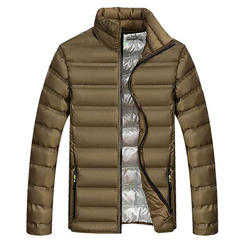 (TWGONE Mens Fashion Winter Zipper Pure Color Stand Collar Thickened Cotton Outwear Coat(XXXX-Large,ArmyGreen))