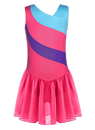 Tulle Leotard for Girls Sparkle Gymnastics Dance Skirt (Hot-pink, 120 For (Biketard Dress)