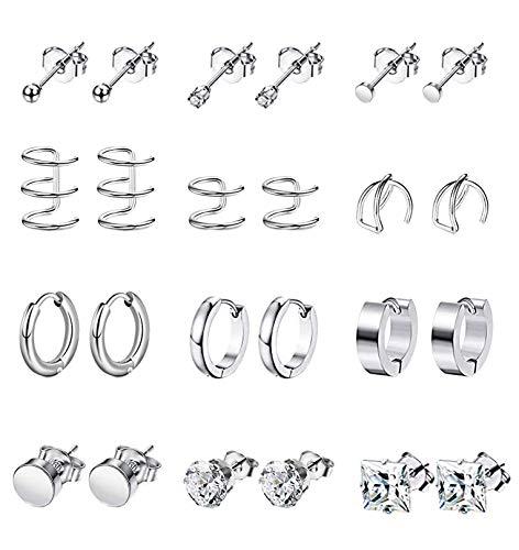 YOVORO 12 Pairs Stainless Steel Stud Earrings for Men Hoop Earrings for Women Ear Cuff CZ Cartilage Clip On Earrings Ear Piercing Set Silver-tone
