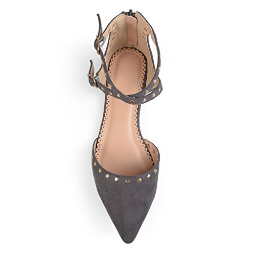 Grey Faux Flats Studded Ankle Strap Double Womens Brinley Suede Co qFwzp1f
