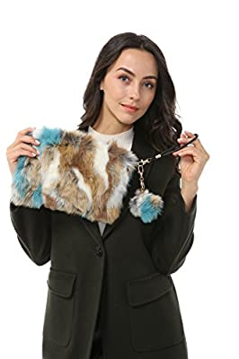 Dikoaina Fashion Women Faux Fur Handbag Evening Clutch Phone and Wallet Purse Lady Bag