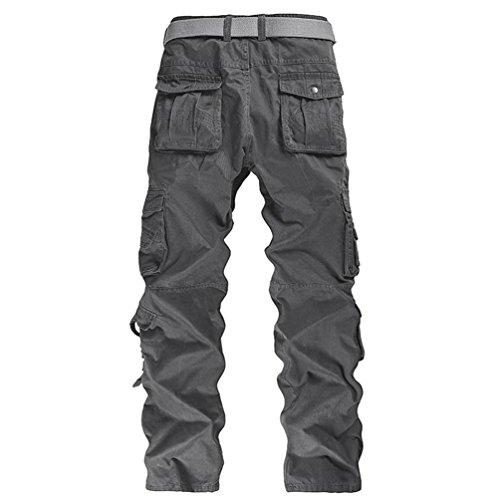 ZKOO Vintage Tuta Pantaloni Cargo In Cotone Colore Solido Tasche Pantaloni Larghi Uomo