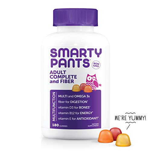 SmartyPants Adult Complete and Fiber Daily Gummy Vitamins: Multivitamin, Inulin Prebiotic Fiber, Omega 3 DHA/EPA Fish Oil, Folate (Methylfolate), Methyl B12, Vitamin D3, 180 count (30 Day Supply)