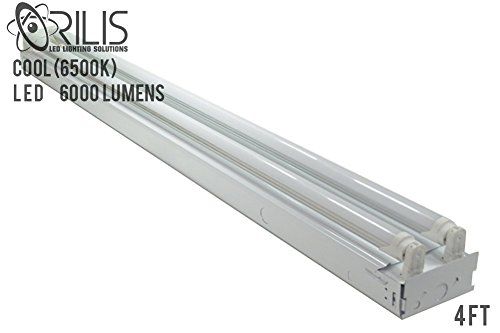 White 48 Watt 4 ft 2-light Flush Mount Ceiling Light Fixture with 2x LED T8 24 Watt Tubes - 6500K - 30% Brighter than 18w LEDs (Ceiling Tube)