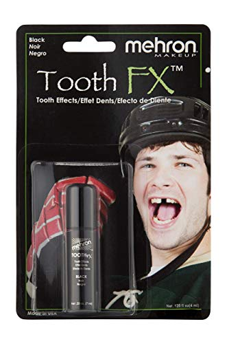 Mehron Makeup Tooth FX with Brush for Special Effects, Halloween, Movies (.25 oz) (Black)