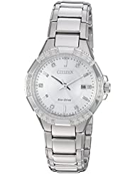 Citizen Womens Eco-Drive Quartz Stainless Steel Casual Watch, Color:Silver-Toned (Model: EW2460-56A)