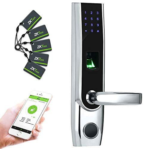 ZKTeco Fingerprint Biometric Bluetooth Smart Door Lock Digital Keyless Keypad Code Locks+ 5pcs RFID Cards,Right Handed.
