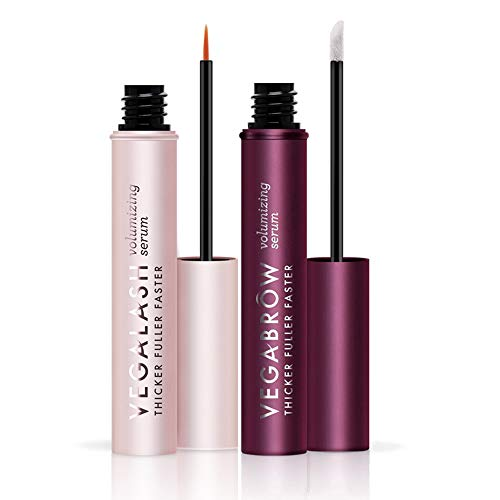 VEGAMOUR Lash and Brow Volumizing Serum Kit, Bundle of 1 Vegalash and 1 Vegabrow - Natural Hormone Free Vegan Plant Based Cruelty Free Eyelash and Eyebrow Thickening Formula Boosts Healthy Growth