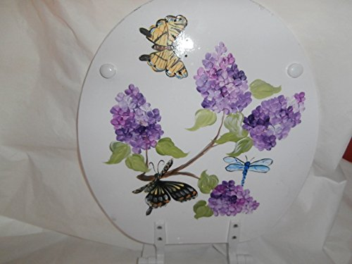 Hand Painted Toilet Seat - Hand painted lilacs, butterflies and dragonfly standard white toilet seat. usa.