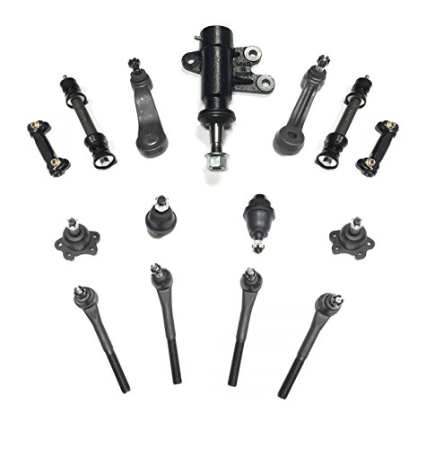 (PartsW 15 Piece Suspension Kit For Chevrolet & GMC Trucks SUVs, Upper & Lower Ball Joints, Adjusting Sleeve, Pitman & Idler Arm, Inner & Outer Tie Rod, Idler Bracket Assembly Sway Bar Link for 2WD)