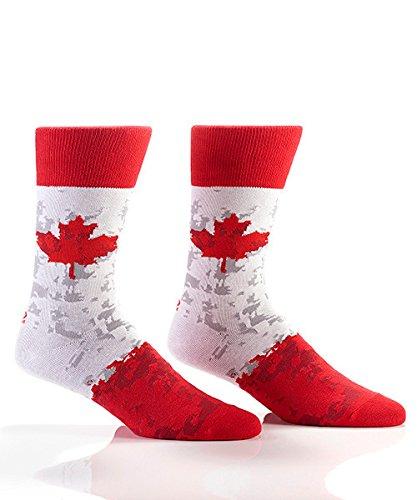 Yo Sox Canada Pride Cool Men's Red Crew Socks - Funky Socks for Dress or Casual Wear Size - Canada Men