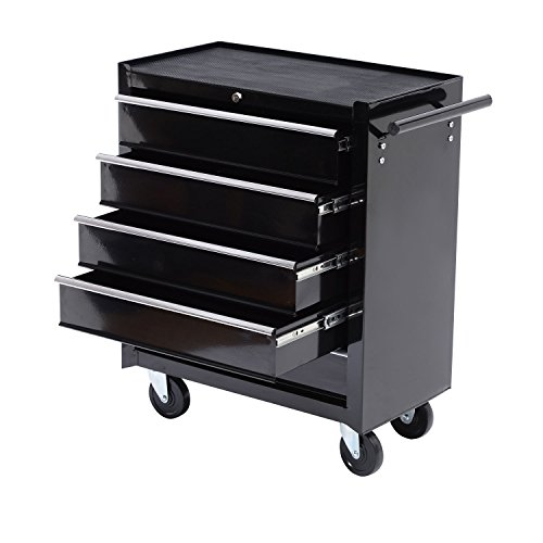 Five-Drawer-Black-Storage-Cabinet-Rolling-Toolbox-w-Four-Casters by Magic Tech