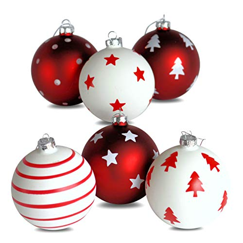 Stripe Ball Glass - WHW Whole House Worlds Red and White Luxe Ball Ornaments, Pack of 6, Assorted Styles, Stars, Stripes, Dots and Trees, Each 4 Inches in Diameter, Silver Hanger, from The Holiday Home Collection