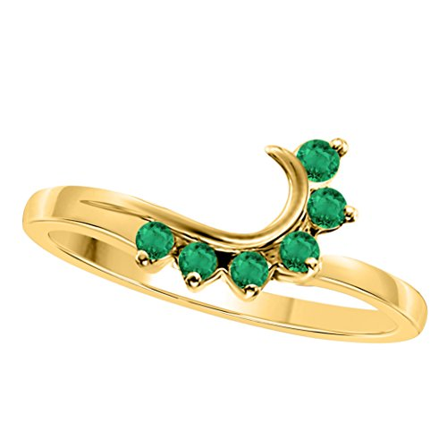 - Star Retail 14K Yellow Gold Finish Round CZ Green Emerald Wedding Band Enhancer Guard Double Ring