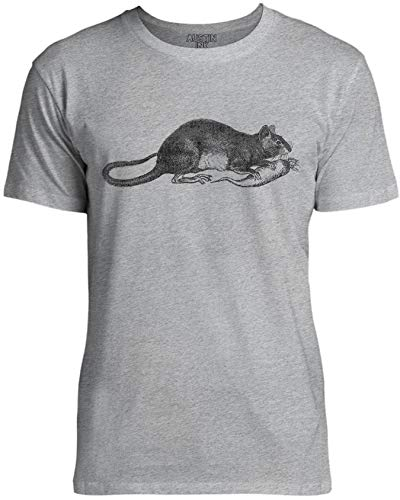 Austin Ink Apparel Womens Rat Snacking on a Carrot Unisex Cotton T-Shirt, Gray Marle, XS
