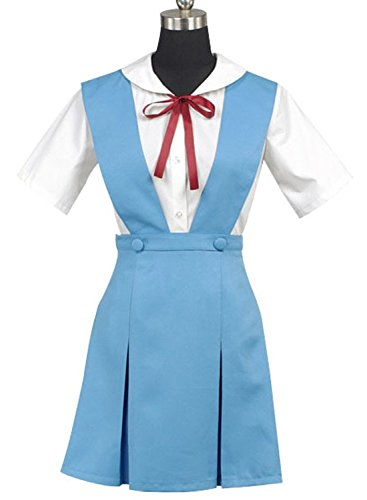 Ya-cos Cosplay Evangelion EVA Ayanami Rei Uniform Cosplay Costume Dress Outfit