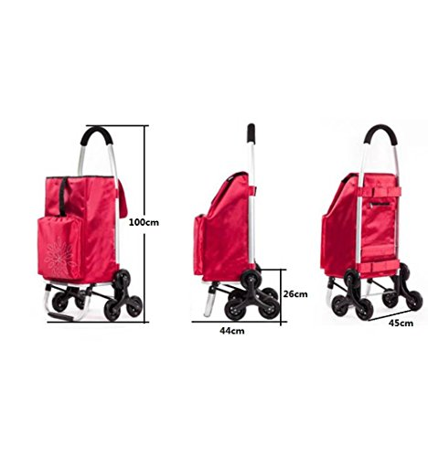 Amazon.com: LUCKYYAN Foldable Stair Climber Shopping Cart with 60 Larger Shopping Bag, Red Grocery Trolley: Home & Kitchen