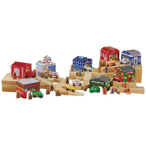 44 pc. Wooden Community Set with 8 Buildings, Helicopter, 10 Vehicles and 25 Wooden People
