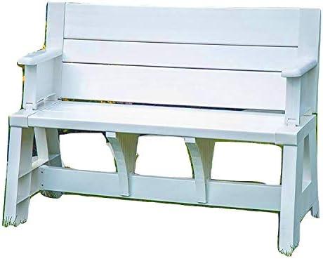 EFD asiento de banco de resina convertible para patio al aire libre, patio, porche, pícnic, jardín, sofá, capacidad para 2 personas, diseño de listones, resistente al agua, resistente a los rayos UV