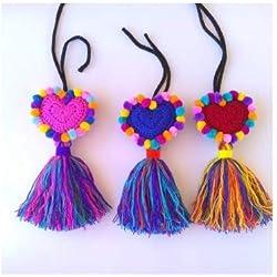 accesorio para bolsas artesanal mexicano corazon crochet pompones borlas