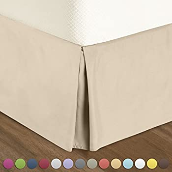 Nestl Bedding Double Brushed Microfiber Dust Ruffle, 14-Inch Tailored Drop Pleated King Bed-Skirt, Cream