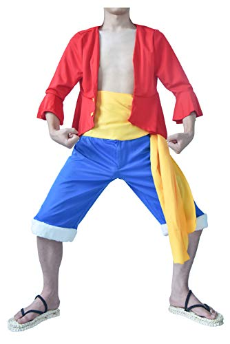 DAZCOS Adult US Size Anime Monkey D Luffy Red Outfit Cosplay Costume (Men -