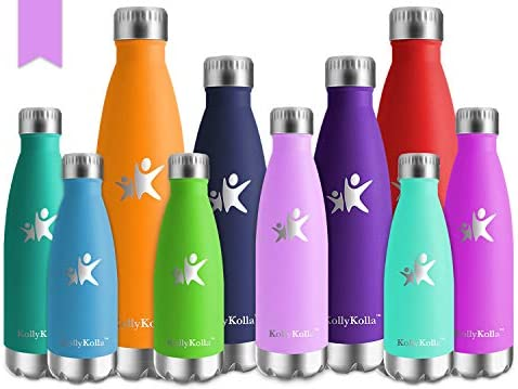 KollyKolla Botella de Agua Acero Inoxidable, Termo Sin BPA Ecológica, Botellas Termica Reutilizable Frascos Térmicos para Niños, Deporte, Oficina, ...
